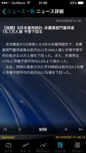 トレイダーズ証券 みんなのFX 10万円からトライ ⑦ 8月米雇用統計(非農業部門雇用者数)・失業率 指標予想的中するも 欲張ってからの 大損